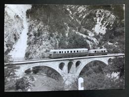 Photographie Originale De J.BAZIN : Autorails :Pont De THORAME HAUTE   ( Alpes De Haute Provence) En  1959 - Trenes