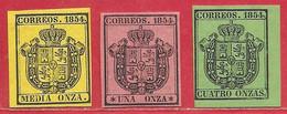Espagne Service N°1 0,5o Jaune, N°2 1o Rose, N°3 4o Vert 1854 * - Service