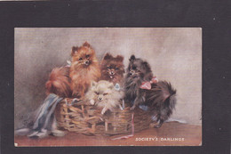 Dog Card -  Societys Darlings.   Puppies In Wicker Basket.   1931.   R Tuck. - Perros