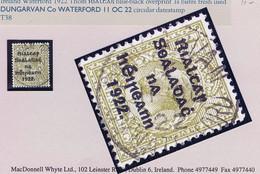 Ireland 1922 Thom Rialtas Ovpt In Blue-black On 1s Bistre Brown Used Central DUNGARVAN Co WATERFORD 11 OC 22 - Gebruikt