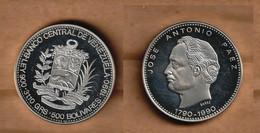 VENEZUELA  500 Bolivares (Jose Antonio Paez) 1990 Silver (.900) • 31.10 G • ⌀ 35 Mm Y# 64 - Venezuela