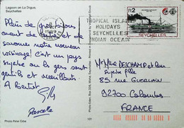 """►  SEYCHELLES - TIMBRE THEMATIC STAMP """"M/S Hospital SHIP Liberty"""" CP Lagon Coconut 1989 - Ships"""