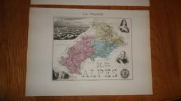 HAUTES ALPES Département France Carte Géographique Issue De L'Atlas Migeon 1882 Avec Descriptif Géographie Cartographie - Cartes Géographiques