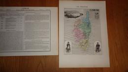 CORSE Département France Carte Géographique Issue De L'Atlas Migeon 1882 Avec Descriptif Géographie Cartographie - Cartes Géographiques