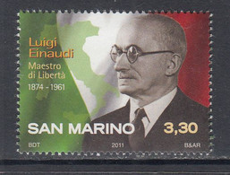 2011 San Marino Einaudi Italy President Complete Set Of1  MNH @ BELOW FACE VALUE - Unused Stamps