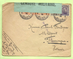 135+136+139  Op Brief Stempel PMB 8 Op 15/12/15 Naar Vlessingen ,GROENE Censuurstrook !!!! CENSURE MILITAIRE  (B432 - Esercito Belga