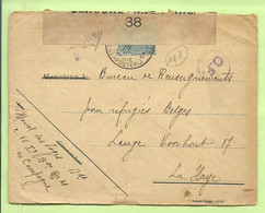 """141 Op Brief PMB 8 Naar """"Refugies Belges La Haye, CENSURE MILITAIRE 38 (kleine Stempel 38 !!)+C.F. (Folkestone) (B493 - Esercito Belga"""