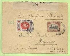 134+142 Op Brief  Stempel PMB Op 4/12/16 Naar Moutier, Strookje CENSURE MILITAIRE 121 (B672 - Esercito Belga