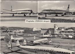 AEROPORTO-AEROPORT-AIRPORT-FLUGHAFEN-ZURICH AIRPORT-CARTOLINA VERA PHOTO-VIAGGIATA. NEL 1961 - Aerodromes