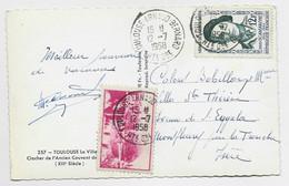 12FR SCAMARONI SEUL CARTE TOULOUSE 12.7.1958 + VIGNETTE ROSE VITORIA 1556 1956 - 1921-1960: Période Moderne