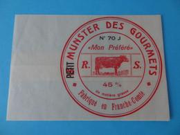 Emballage De Petit Munster Des Gourmets Mon Préféré R. S.  70 J Franche Comté Haute Saône - Cheese