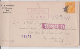 Us Philippines Islands Gonzalez Manila Registered Stamp Front Cover 1914 To A. Segno Institute Of Mentalism Los Angeles - Philippines