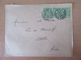 France - Timbre Sage 5c N°106 (Bande De 3) Sur Enveloppe Entre Nice Et Albi - 1899 - 1877-1920: Période Semi Moderne