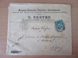 """France - Timbre Sage 5c N°75 Sur Enveloppe """"B. Castex"""" Vers Mirande (Gers) - Ambulant Auxonne à Toulouse - 1898 - 1877-1920: Période Semi Moderne"""