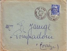 Gandon Obl ILE D' AIX Charente Maritime 1953 , Lettre ...... Obl RARE !!!! - 1921-1960: Modern Period