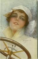 MONESTIER SIGNED 1910s POSTCARD - WOMAN & CAR - N.307  (BG1902) - Monestier, C.