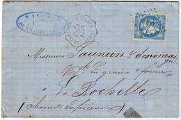 20 C BORDEAUX N° 45 ( TTB ) Obl Cachet Convoyeur Station LUSSAC LES CHATEAUX Vienne Lettre 30 Mai 1873 - 1849-1876: Classic Period