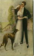 MONESTIER SIGNED 1910s POSTCARD - COUPLE & DOG - N.882  (BG1903) - Monestier, C.