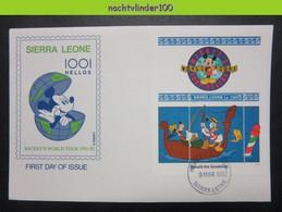 Ncs4133b WALT DISNEY GOOFY AAN HET VISSEN DONALD THE GONDOLIER BOAT FISHING WORLD TOUR SIERRA LEONE 1992 FDC - Disney