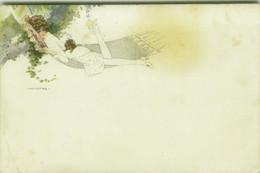 MONESTIER SIGNED 1920s POSTCARD - WOMAN WITH DOG ON AMACA - N.314  (BG1904) - Monestier, C.