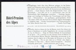Suisse - Hotel-Pension Des Alpes - MACOLIN/MAGGLINGEN - Carte Publicitaire - BE Berne