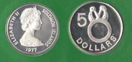 5 Dollars 1977 Salomon Islands Salomone îles Silver Coin - Solomon Islands