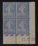 FRANCE  Coin Daté **  Type Semeuse  40c  Outremer Yvert 237   22.10.29   Neuf Sans Charnière - ....-1929