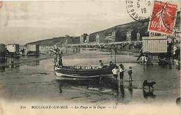 62 - Boulogne Sur Mer - La Plage Et La Digue - Roulotte - Animé - Ecrite En 1918 - CPA - Voir Scans Recto-Verso - Boulogne Sur Mer