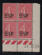 FRANCE  Coin Daté *  Type Semeuse Lignée 65c  Rose Surchargé 50c   Yvert 224  24.10.24 Neuf Avec Charnière - ....-1929