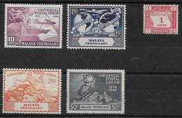 MALAYA - TRENGGANU 1949 UPU SET AND 1937 1c POSTAGE DUE LIGHTLY MOUNTED MINT Cat £12.75 - Trengganu