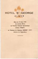 ALGER - MENU HOTEL ST GEORGES - 15 MARS 1954- PLIÉ - Menú