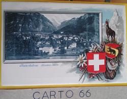 Suisse Interlaken Kanton Bern Canton Vue Generale Gaufrée Illustrateur F. Zuber Voir état - BE Berne