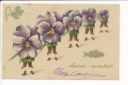 Carte Gaufrée Fantaisie Souvenir Du 1er Avril Poisson / Fleur Humanisée - 1° Aprile (pesce Di Aprile)
