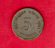 """GERMANY """"REICH"""", 1894, Circulated Coin , 5 Pfennig,   My Scannr. C3791 - 5 Pfennig"""