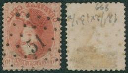 """Médaillon Dentelé - N°16 Obl Pt 51 (Lp 51) """"Braquegnies"""" / COBA : 150e + - 1863-1864 Medaillons (13/16)"""