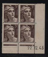 FRANCE  Coin Daté **  Type Marianne De Gandon  3f  Brun Foncé  22.12.45  N° Yvert 715  Neuf Sans Charnière - 1940-1949