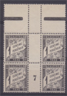 Taxe 1881-92 N°10 Millésime 7 Bloc De 4 Avec Inter Panneau  Neuf ** Voir Scan Recto/verso - 1859-1955 Mint/hinged