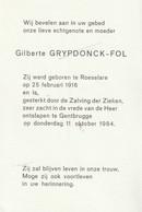 Roeselare, GEntbrugge, 1984, Gilberte GRypdonck, Fol - Santini