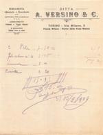 "02877 ""DITTA A. VERSINO & C. - TORINO - FERRAMENTA-CHIODERIE-BROCCHERIE-ARTICOLI PER CALZOLAI....."" FATTURA 1909 - Invoices"