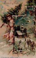 ILLUSTREE Gaufrée : Ange Au Sapin . Eglise Sous La Neige : - Other