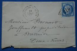 Z7 FRANCE BELLE LETTRE 1875 CHATILON ST ALBIN POUR BRESSUIRE   +N 60   + AFFRANCH. INTERESSANT - 1871-1875 Cérès