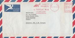 AFRIQUE DU SUD EMA TURTLE WAX  SUR LETTRE DE JOHANNESBURG POUR LA FRANCE 1974 - Cartas