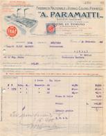 """02881 """"A. PARAMATTI - TORINO - FABBRICA NAZ.LE DI VERNICI COLORI E PENNELLI"""" FATTURA 1922 - Invoices"""