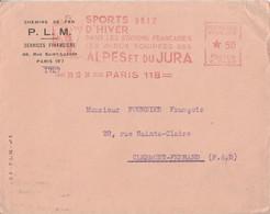 EMA SPORTS D'HIVER SUR LETTRE A EN TETE PLM DE PARIS 118 1936 - EMA (Printer Machine)