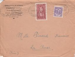 MONACO AFFRANCHISSEMENT COMPOSE SUR LETTRE POUR LA FRANCE 1945 - Lettres & Documents