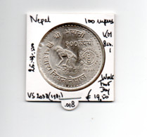 NEPAL 100 RUPEES VS2038/1981 ZILVER WORLD FOOD DAY - Nepal