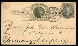Postkarte Postcard USA US Postage 1888 H.C. Bachrodt Cottage Grove Grocer Des Moines Iowa Nach Leipzig - Cartas