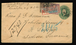 Ganzsache Reco Registered Mail USA  1898 Rochester NY  Nach Leipzig Viele Stempel Many Stamps - ...-1900