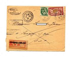 Lettre Recommandée Versailles Sur Merson Blanc + Retour Mention Décédé - Manual Postmarks