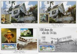 Brasil 2002 / 2006 4 Maximum Card Stamp C-2472 2473 2661Santos Dumont House 14 Bis Airplane Aviation Transport - Aviones